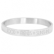"Armband van stainless steel met quote ""food♡friends♡sunshine"" Zilver"