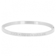 "Armband van stainless steel thin met quote ""food♡friends♡sunshine"" Zilver"