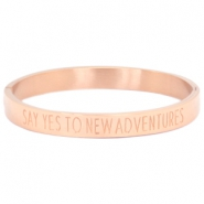 "Armband van stainless steel met quote ""SAY YES TO NEW ADVENTURES"" Rosegold"