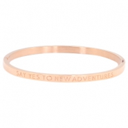 "Armband van stainless steel thin met quote ""SAY YES TO NEW ADVENTURES"" Rosegold"