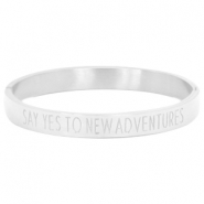 "Armband van stainless steel met quote ""SAY YES TO NEW ADVENTURES"" Zilver"