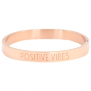 "Armband van stainless steel met quote ""POSITIVE VIBES"" Rosegold"