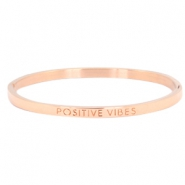 "Armband van stainless steel thin met quote ""POSITIVE VIBES"" Rosegold"