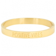 "Armband van stainless steel met quote ""POSITIVE VIBES"" Goud"