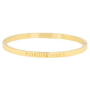 "Armband van stainless steel thin met quote ""POSITIVE VIBES"" Goud"
