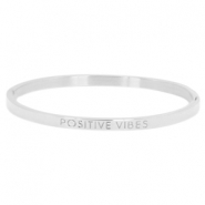 "Armband van stainless steel thin met quote ""POSITIVE VIBES"" Zilver"
