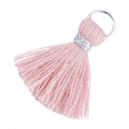 Ibiza style kwastje 2cm Zilver-Antique pink