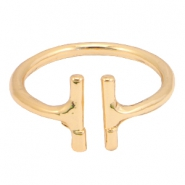 Trendy ringen double bar Goud