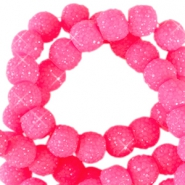 Sparkle beads 6mm Neon pink