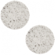 12 mm platte Polaris Elements cabochon Lava Light grey