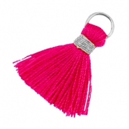 Ibiza style kwastje 1.8cm Zilver-ruby pink