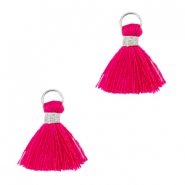 Ibiza style kwastje 1cm Zilver-ruby pink