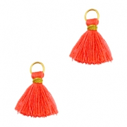 Ibiza style kwastje 1cm Goud-vermillion coral red orange