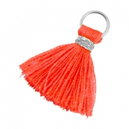 Ibiza style kwastje 1.8cm Zilver-vermillion coral red orange