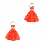 Ibiza style kwastje 1cm Zilver-vermillion coral red orange