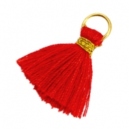 Ibiza style kwastje 1.8cm Goud-scarlet red