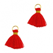 Ibiza style kwastje 1cm Goud-scarlet red