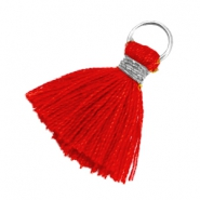 Ibiza style kwastje 1.8cm Zilver-scarlet red