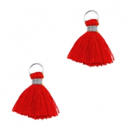 Ibiza style kwastje 1cm Zilver-scarlet red