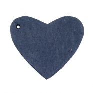 Hangers van DQ leer hart Dark denim blue