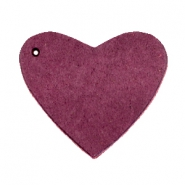 Hangers van DQ leer hart Light aubergine red
