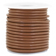 Leer DQ rond 3 mm Chocolate brown