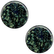 12 mm platte Polaris Elements cabochon Stardust Dark emerald blue zircon