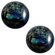 12 mm classic Polaris Elements Stardust cabochon Dark emerald blue zircon