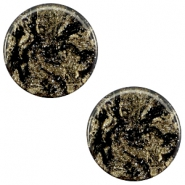 12 mm platte Polaris Elements cabochon Stardust Jet black
