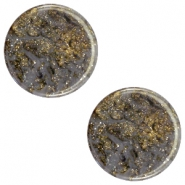 12 mm platte Polaris Elements cabochon Stardust Dark grey