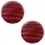 12 mm platte Polaris Elements cabochon Sparkle dust Aubergine red