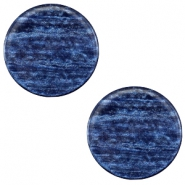 12 mm platte Polaris Elements cabochon Sparkle dust Montana blue