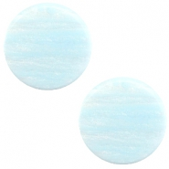 12 mm platte Polaris Elements cabochon Sparkle dust Soft blue