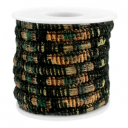 Trendy koord 6x4mm gestikt Multicolor black-copper-dark green