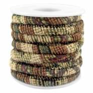 Trendy koord 6x4mm gestikt Multicolor beige-brown-green