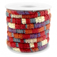 Trendy koord 6x4mm gestikt Multicolor red-orange-purple