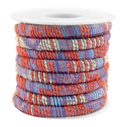 Trendy koord 6x4mm gestikt Multicolor coral red-blue