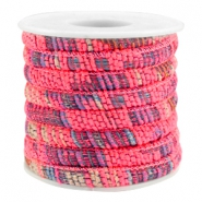 Trendy koord 6x4mm gestikt Multicolor neon pink