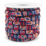Trendy koord 6x4mm gestikt Multicolor dark blue-red-orange