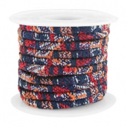 Trendy koord 4x3mm gestikt Multicolor dark blue-red-orange