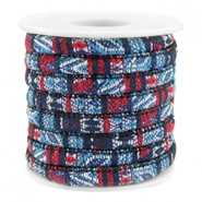 Trendy koord 6x4mm gestikt Multicolor dark blue-red
