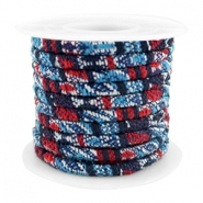 Trendy koord 4x3mm gestikt Multicolor dark blue-red