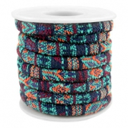 Trendy koord 6x4mm gestikt Multicolor emerald-aubergine-orange