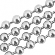 Stainless steel ball chain 2mm van roestvrij staal (RVS) Zilver
