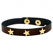 Armband met studs star gold Dark chocolate brown