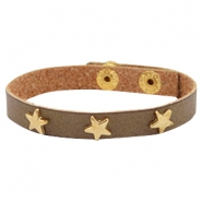 Armband met studs star gold Olive brown