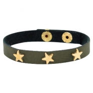 Armband met studs star gold Dark moss green