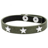 Armband met studs star silver Dark olive green
