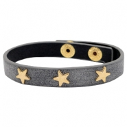 Armband met studs star gold Antique anthracite grey