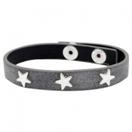 Armband met studs star silver Antique anthracite grey